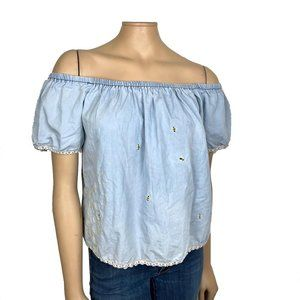 Refashioned Hand Embroidered Bee Top